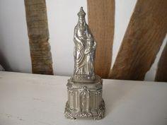 Virgin Mary Statue Madonna Souvenir French Antique Piece Chrome / silver Finish
