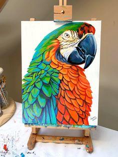 Wildlife Collection - Faith over Fear — Lauren Elizabeth Fine Art Indian Art Paintings, Animal Paintings, Modern Art Paintings, Diy Canvas Art, Acrylic Painting Canvas, Abstract Canvas Paintings, Parrot Painting, Afrique Art, Bird Drawings