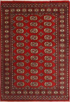 "Red/Burgundy Bokhara Persian Rug 4' 1"" x 6' (ft) http://www.alrug.com/9616"