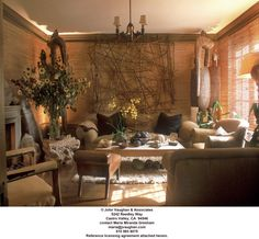 ~Designed by Michael Taylor in 1980, this was the smoking room of a San Francisco home. I first saw this room in a 1985 House & Garden feature. I still love it today. ~This Tayloresque interior displays the strong primitivist strain found in most of his most characteristic interiors. Gutzy. Textural. Timeless.