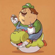 """""""Chunky Luigi, w/ Yoshi"""" - Super Mario 