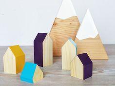 Happy Little Neighborhood  Wood Block Houses by MOUNTAINHAUSSTUDIO