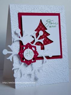 Lovely way to use tree die cut and snowflake
