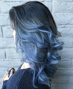 Beautiful wavy black hair with light blue ombre, love this color idea so much