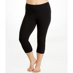 HUE Cotton Capri Leggings Plus Size ($28) ❤ liked on Polyvore featuring plus size women's fashion, plus size clothing, plus size pants, plus size leggings, hosiery, leggings, opaque, women, cotton capri leggings and cotton pants