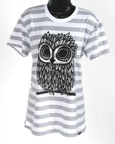 Owl on Heather Grey and White Stripe Womens American by miasunique, $25.00