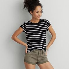 AEO Soft & Sexy Tomgirl T-Shirt ($20) ❤ liked on Polyvore featuring tops, true black, crewneck t shirt, crew-neck tee, sexy t shirts, striped t shirt and banded waist tops