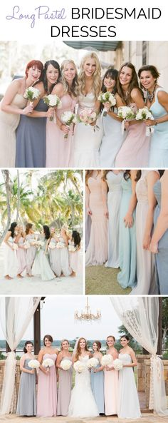 Long pastel bridesmaid dresses | SouthBound Bride | http://www.southboundbride.com/long-pastel-bridesmaid-dresses | Credits: Lane Dittoe // KT Merry Photography // Spindle Photography // Coralee Estelle/
