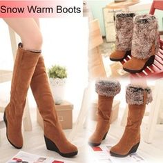 Online Shop 2014 Women Warm Snow Boots Winter Shoes Wedges High Folding High Heels Draw Thermal Winter Boots Female Knee High Boots Aliexpress Mobile