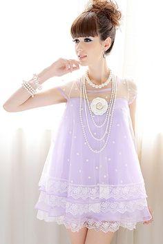 Star Print Petal Edged Mini Dress