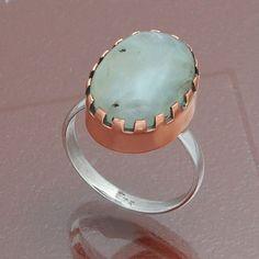 925 STERLING SILVER PREHNITE CAB MARVELLOUS RING 5.15g DJR4021 #Handmade #Ring