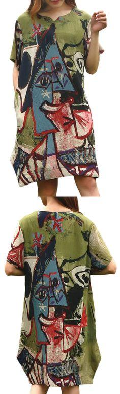 US$ 21.70 Casual Women Printed Short Sleeve Irregular Hem Mini Dress