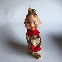 "Vintage Gold Knee Hugger Pixie Elf Christmas Decor 10"" Japan"