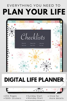 Stay organized with a variety of checklists in this digital planner for iPads, tablets, Goodnotes, Notability, Noteshelf and other annotation apps Free Planner, Goals Planner, Planner Pages, Printable Planner, Planner Stickers, Coping Skills, Life Skills, Evening Meditation, 1000 Life Hacks