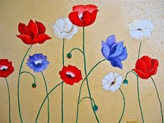 Oil Painting Textured Background Poppies Wall by artbyglorianna, $225.00