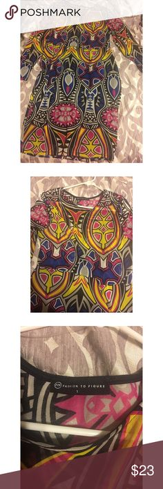 Bodycon colorful long sleeve dress This is a pop style kind of dress with vibrant colors. Bodycon style dress is great for the nightlife. The top of the dress is see through. This dress is comfy and stretches. Fashion to Figure Dresses Midi