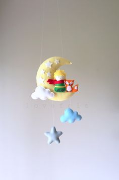 Baby mobile - The Little Prince mobile - Moon mobile - Le Petit Prince - Crib Mobile Moon - Baby Mobile Stars by lovefeltmobiles on Etsy https://www.etsy.com/listing/465131401/baby-mobile-the-little-prince-mobile