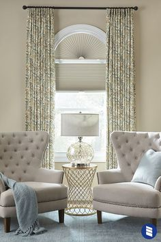 Give your windows elevated style with cellular arch shades and layered draperies. Arched Window Coverings, Arched Window Treatments Family Rooms, Window Treatments Bedroom, Window Treatments Living Room, Living Room Windows, Home Decor, Living Room Furniture, Shade House, Window Design