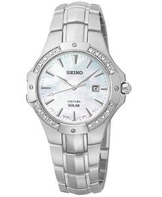 Seiko Women's Coutura Solar Diamond Accent Stainless Steel Bracelet Watch 29mm SUT123
