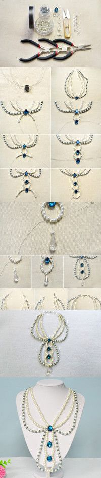 Tutorial on How to Make a Three Strand Blue Beaded Pearl Necklace with Rhinestone Cabochon from LC.Pandahall.com #pandahall