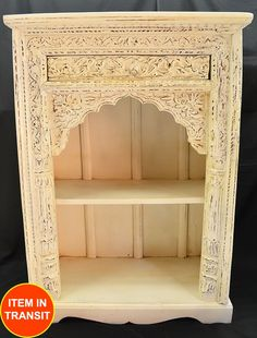 Great Antique Carved Indian White Timber Shabby Chic Book Shelf Bookshelf French  Chest
