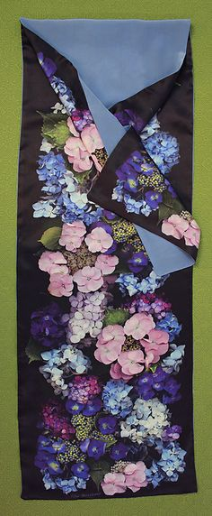 From my neighbor's garden... Scanner Photography By Ellen Hoverkamp — Lined Silk Hydrangea Scarf