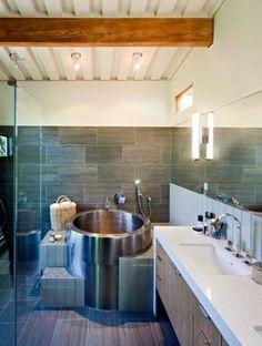 round soaking tub - Spotted in the Orinda Remodel project by WA Design. - Erin Frazer - round soaking tub - Spotted in the Orinda Remodel project by WA Design. round soaking tub - Spotted in the Orinda Remodel project by WA Design. Small Soaking Tub, Japanese Soaking Tubs, Mini Bathtub, Japanese Bathroom, Metal Tub, Bathroom Layout, Bathroom Ideas, Bathroom Tubs, Design Bathroom