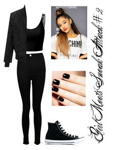 """""""Girl Meets Sneak Attack #2"""" by bella-014 ❤ liked on Polyvore featuring Doublju, Boohoo, LE3NO and Converse"""