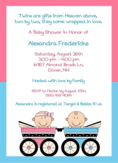 Twin Baby Carriage Baby Shower Invitations