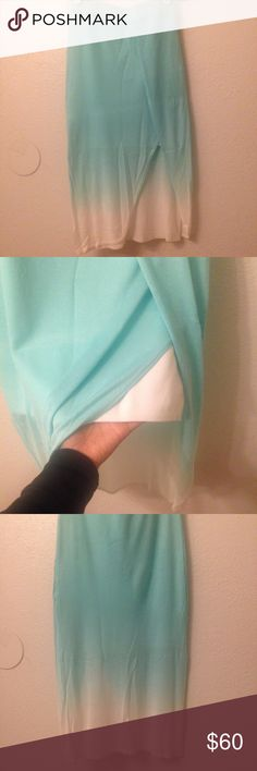 BEBE ombre skirt selling locally if not sold here Nwt, the wrinkles can obviously be taken out, no flaws, long in back, cut in front, has mini white skirt under so you wont worry about ppl seeing your panties, ********price negotiations only via button******* sorry no modeling.           ++++ if interested plz, plz submit your best offer as ill sell locally if it doesn't sell on posh bebe Skirts