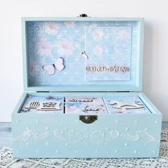 Large Keepsake box baby Boy blue Christening Baby Shower Gift Box card making