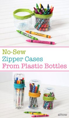 These no-sew zipper containers for your office or play time trinkets are make from plastic bottles! Imagine that! Full DIY here: http://www.ehow.com/how_12343781_make-nosew-zipper-cases-plastic-bottles.html?utm_source=pinterest.com&utm_medium=referral&utm_content=freestyle&utm_campaign=fanpage