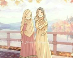 Two muslim friends illustration art Friend Cartoon, Friend Anime, Girl Cartoon, Teacher Cartoon, Islamic People, Hijab Drawing, Moslem, Doodle Girl, Islamic Cartoon