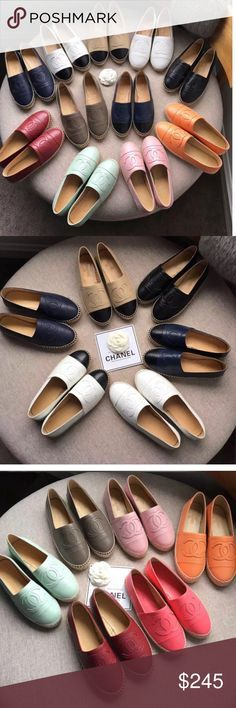 New Chanel espadrilles shoes Brand new in box and dust bag. Comment with which ones you want and size. Check out my Instagram mirrorqualitylux for more info and pics. Also you can  me. Price firm on posh. CHANEL Shoes Espadrilles