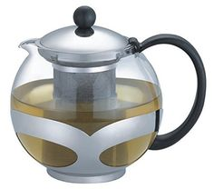 Tempered Glass 3-Cup Tea Pot w/ Removable Steel Infuser by Pride Of India -- Click image to review more details.