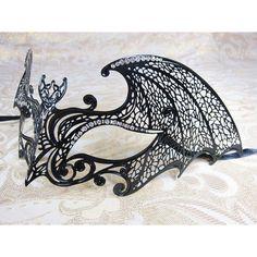 Schwarze Fledermaus Metall Laser geschnittene Masquerade Ball Maske Venezianische Maske mit klaren Straßsteinen