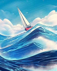 """""""Cover illustration for the Geneseo Scene alumni magazine by Brian Edward Miller"""" Wave Book, Ocean Illustration, Illustration Styles, Ocean Scenes, Sail Away, Graphic Design Inspiration, Landscape Art, Adventure Travel, Airplane View"""
