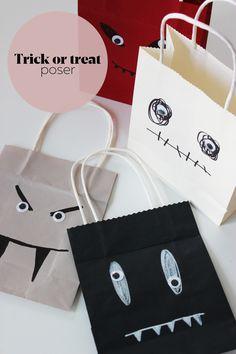 Buste di carta, pennarelli e un po' di fantasia per realizzare originali sacchetti porta dolcetti da distribuire ai bambini in occasione di Halloween