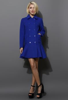 Blue Double Breast Coat with Frill Hem - New Arrivals - Retro, Indie and Unique Fashion