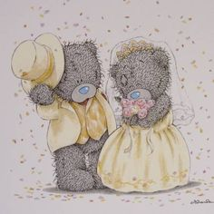 wedding Teddy Images, Teddy Bear Pictures, Cute Images, Cute Pictures, Bear Pics, Tatty Teddy, Urso Bear, Bear Graphic, Blue Nose Friends