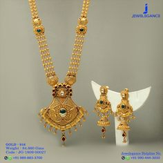 Gold 916 Premium Design Get in touch with us on Gold Wedding Jewelry, Gold Jewelry Simple, Bridal Jewelry, Gold Earrings Designs, Gold Jewellery Design, Necklace Designs, Gold Necklace, Simple Necklace, Necklace Set