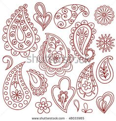 Hand-Drawn Abstract Henna (mehndi) Paisley Vector Illustration Doodle Design Elements, Blue 67 Design