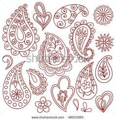 Hand-Drawn Abstract Henna (mehndi) Paisley Vector Illustration Doodle Design Elements, Blue 67 Design