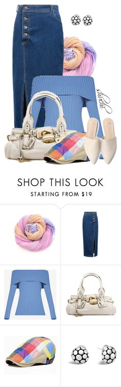 """Denim and Sorbet"" by shuchiu ❤ liked on Polyvore featuring WithChic, BCBGMAXAZRIA, John Hardy, linen, offshoulder, scarfstyle and showsomeshoulder"