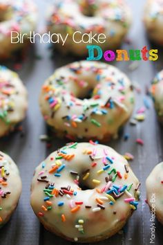 15 Delicious Donut Recipes You Can Make At Home like these Birthday Cake Donuts