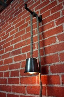 Great idea for bedside lighting. Two plug-in pendants draped / wrapped over a bracket.