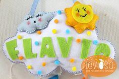 **Leviòsa**  Newborn baby nursery decoration/ felt cloud with  baby name - Fiocco nascita/decorazione cameretta nuvola https://www.facebook.com/Leviosa.blog