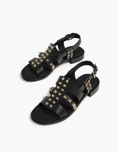 LEATHER sandals with studs - All | Stradivarius Japan