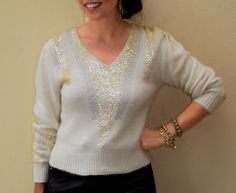 Vintage Angora Sweater  Ivory Sequins Cardigan by FiregypsyVintage
