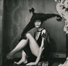 Helena Christensen, in HAUTE COUTURE BY VALENTINO, Paris. By Michel Comte, 1993.